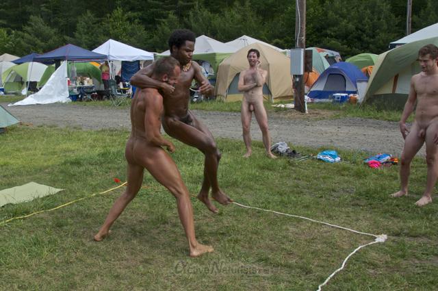 taking a nude mud bath