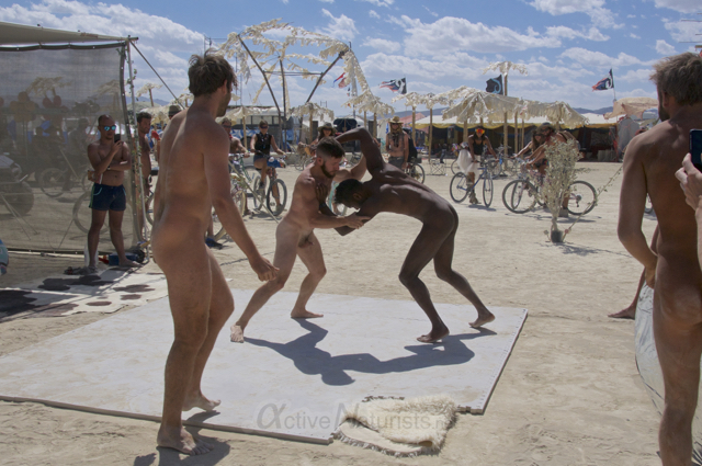 naturist wrestling gymnasium 0004 Burning Man 2015, Black Rock City, Nevada, USA