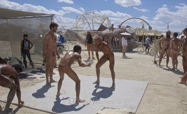 naturist wrestling gymnasium 0012 Burning Man 2015, Black Rock City, Nevada, USA