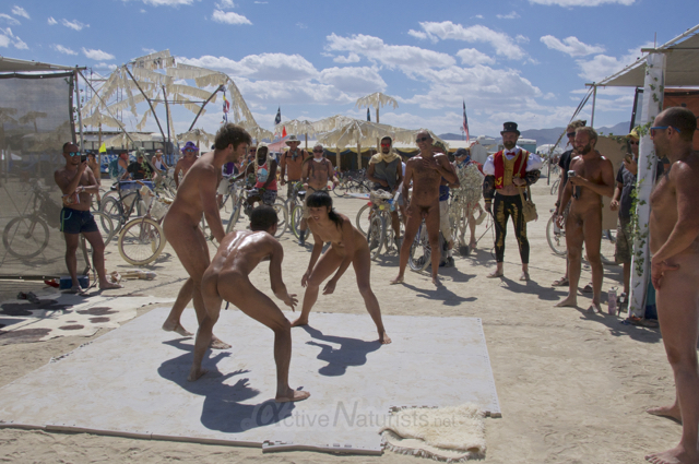 naturist wrestling gymnasium 0014 Burning Man 2015, Black Rock City, Nevada, USA