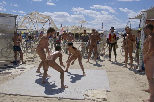 naturist wrestling gymnasium 0014 Burning Man 2015, Black Rock City, Nevada, USA