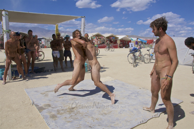 naturist wrestling gymnasium 0022 Burning Man 2015, Black Rock City, Nevada, USA