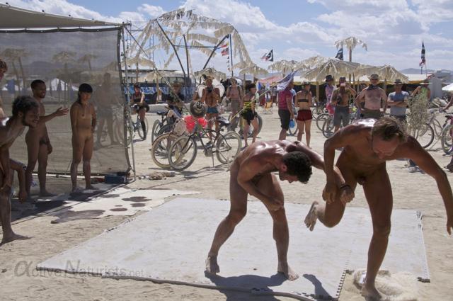 naturist wrestling gymnasium 0025 Burning Man 2015, Black Rock City, Nevada, USA