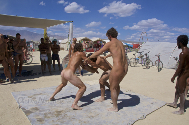naturist wrestling gymnasium 0026 Burning Man 2015, Black Rock City, Nevada, USA