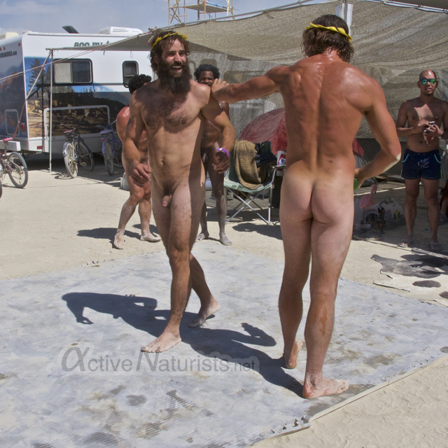 naturist wrestling gymnasium 0038 Burning Man 2015, Black Rock City, Nevada, USA
