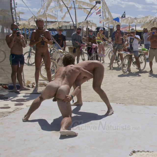 naturist wrestling gymnasium 0041 Burning Man 2015, Black Rock City, Nevada, USA