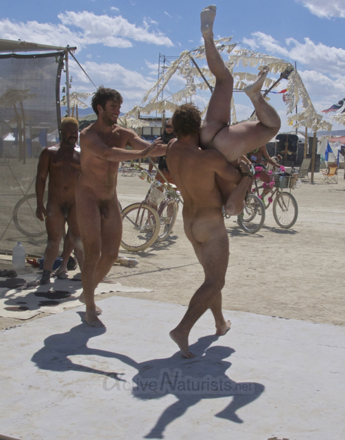naturist wrestling gymnasium 0043 Burning Man 2015, Black Rock City, Nevada, USA